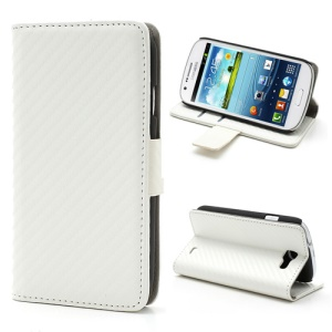 Folio Carbon Fiber Leather Wallet Case for Samsung Galaxy Express I8730 - White