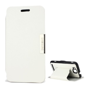 Slim Folio Leather Case with Stand for Samsung Ativ S I8750 - White