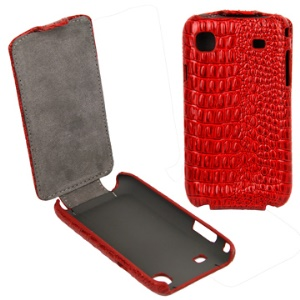 Elegant Lizardstripe Vertical Flip Leather Case for Samsung i9000 Galaxy S/i9001/Vibrant T959/T959V