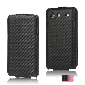 Carbon Fiber Flip Leather Case for Samsung I9070 Galaxy S Advance