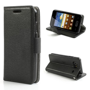 Black Folio Leather Wallet Case Stand for Samsung I9070 Galaxy S Advance