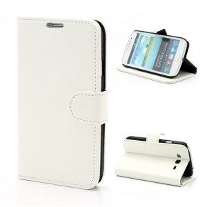 Litchi Leather Wallet Style Stand Case for Samsung Galaxy Grand I9080 I9082 - White