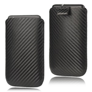 Carbon Fiber Pull Up Tab Leather Pouch for Samsung I9100 Galaxy S 2 / II