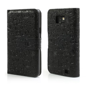 Black Cartoon Graffiti for Samsung Galaxy S2 I9100 Leather Case