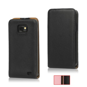 Premium Genuine Split Leather Flip Case for Samsung I9100 Galaxy S2 / II