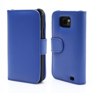 Folio Leather Wallet Case Cover for Samsung I9100 Galaxy S2 / II - Blue