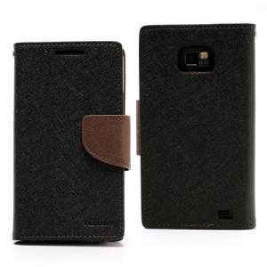 Mercury Fancy Diary Folio Wallet Leather Case for Samsung I9100 Galaxy S 2 / II - Brown / Black