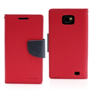 Mercury Fancy Diary Folio TPU Wallet Leather Case for Samsung I9100 Galaxy S 2 / II - Dark Blue / Red