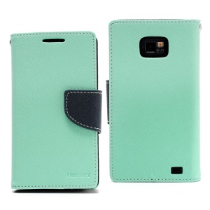 Mercury Fancy Diary Folio Wallet Leather Case for Samsung I9100 Galaxy S 2 / II - Dark Blue / Green