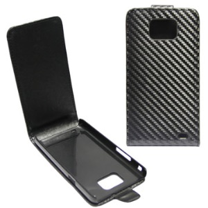 Carbon Fiber Vertical Magnetic Flip Leather Case for Samsung I9100 Galaxy S II