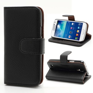 Lychee Texture Leather Wallet Case for Samsung Galaxy S4 mini I9190 - Black