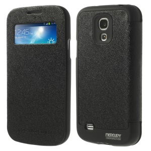 Mercury GOOSPERY Wow Bumper View Leather & TPU Case for Samsung Galaxy S4 mini i9190 - Black
