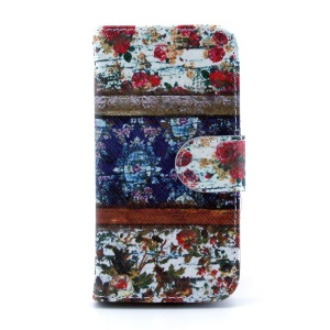 For Samsung Galaxy S4 mini i9190 Leather Stand Wallet Shell - Flowers Painting