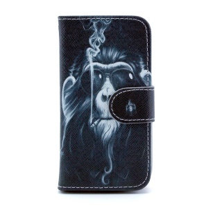 For Samsung Galaxy S4 mini i9190 Leather Stand Shell w/ Wallet - Funny Monkey Smoking