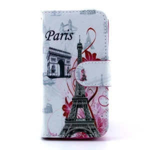 For Samsung Galaxy S4 mini i9190 Leather Stand Case w/ Wallet - Paris Elements Pattern