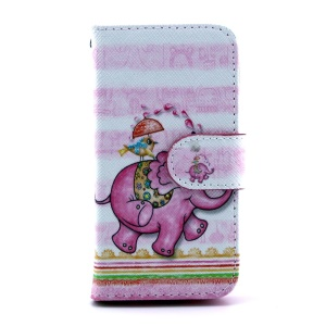 For Samsung Galaxy S4 mini i9190 Leather Flip Cover Stand w/ Wallet - Cartoon Elephant & Bird
