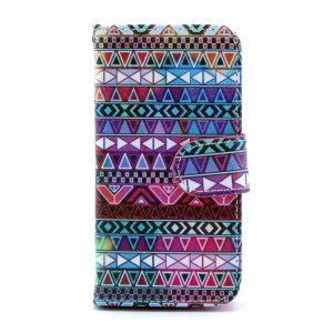 For Samsung Galaxy S4 mini i9190 Leather Flip Case Stand w/ Wallet - Aztec Tribal Pattern