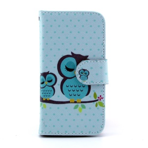 For Samsung Galaxy S4 mini i9190 Leather Flip Shell Stand w/ Wallet - Sleeping Owls