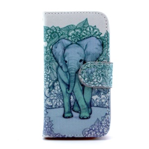 For Samsung Galaxy S4 mini i9190 Leather Case w/ Wallet & Stand - Elephant Art Print