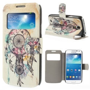 For Samsung Galaxy S4 mini i9190 Dream Catcher View Window Leather Stand Case
