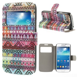 For Samsung Galaxy S4 mini i9190 Geometric Tribal View Window Leather Stand Case