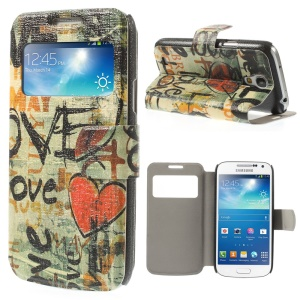 View Window Leather Stand Case for Samsung Galaxy S4 mini i9190 - Graffiti Love Heart