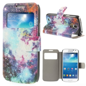 View Window Leather Stand Cover for Samsung Galaxy S4 mini i9190 - Sparkling Nebula Galaxy