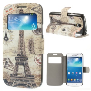 View Window Leather Stand Cover for Samsung Galaxy S4 mini i9190 - Eiffel Tower & Map
