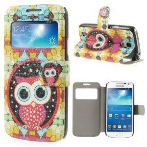 For Samsung Galaxy S4 mini i9190 View Window Folio Leather Stand Cover - Cute Cartoon Owl