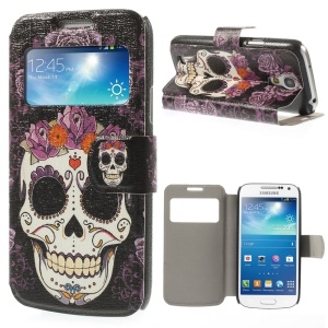 Sugar Skull for Samsung Galaxy S4 mini i9190 View Window Folio Leather Stand Cover