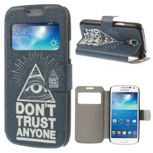 Do not Trust Anyone for Samsung Galaxy S4 mini i9190 View Window Leather Shell with Stand