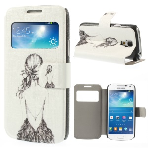 For Samsung Galaxy S4 mini i9190 View Window Leather Phone Case - Sketch Back of Girl