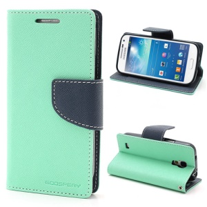 Mercury Goospery Fancy Diary For Samsung Galaxy S4 mini i9190 Wallet Leather Case Stand - Dark Blue / Cyan