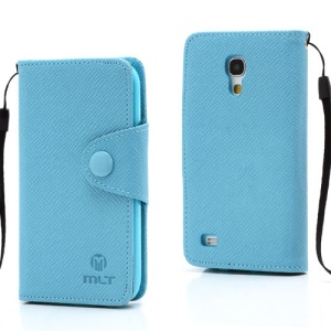 Blue MLT TPU Leather Wallet Case for Samsung Galaxy S4 mini I9195 I9192