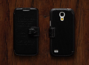 KLD Viva Series Lichee Pattern Leather Case for Samsung Galaxy S4 mini I9190 I9195 - Black