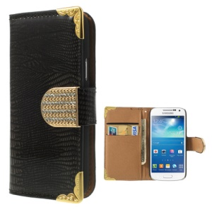 Glossy Lizard Pattern Wallet Leather Case for Samsung Galaxy S4 mini I9195 I9192 I9190 - Black