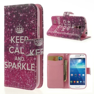 Quote Keep Calm and Sparkle Wallet Leather Cover for Samsung Galaxy S4 mini i9190 i9192 i9195