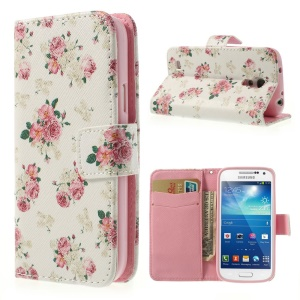 Pretty Rose White Background Stand Leather Wallet Case for Samsung Galaxy S4 mini i9190 i9192 i9195