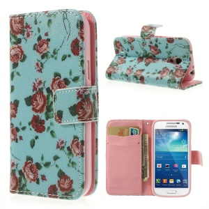 Pretty Rose Blue Background Leather Wallet Shell for Samsung Galaxy S4 mini i9190 i9192 i9195