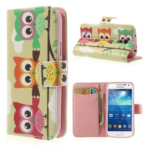 Three Owls Wallet Leather Skin Case for Samsung Galaxy S4 mini i9190 i9192 i9195