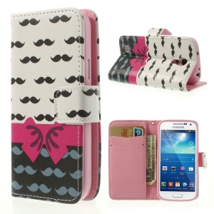 Mustaches & Bowknot Stand Wallet Leather Shell for Samsung Galaxy S4 mini i9190 i9192 i9195