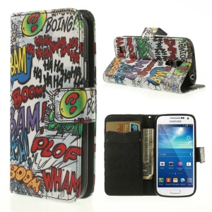 Graffiti HAHA BOOM Wallet Leather Stand Cover for Samsung Galaxy S4 mini i9190 i9192 i9195