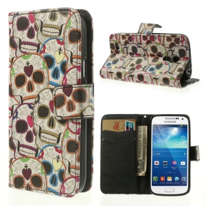 Colorful Skull Heads Wallet Leather Folio Case for Samsung Galaxy S4 mini i9190 i9192 i9195