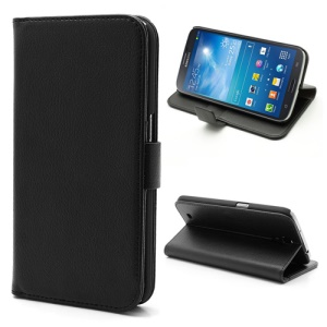 Lychee Grain Folio Wallet Leather Cover with Stand for Samsung Galaxy Mega 6.3 I9200 I9208 - Black