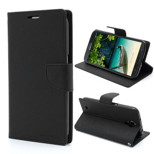 Mercury Goospery Fancy Diary Wallet Leather Case for Samsung Galaxy Mega 6.3 I9200 I9208 - Black