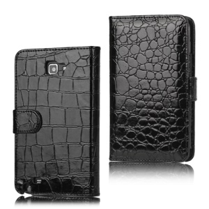 Crocodile Leather Wallet Case for Samsung Galaxy Note I9220 GT-N7000 I717- Black