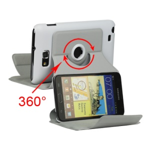 Rotary Leather Stand Case for Samsung Galaxy Note I9220 GT-N7000 I717 - White