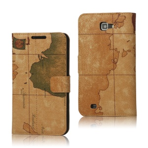 World Map Leather Wallet Case for Samsung Galaxy Note I9220 GT-N7000 I717 - Brown