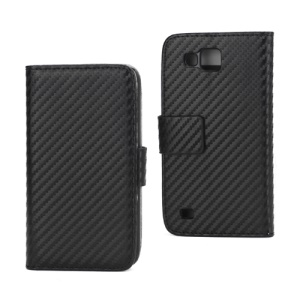 Carbon Fiber Folio Wallet Leather Stand Cover Case for Samsung Galaxy Premier I9260 - Black