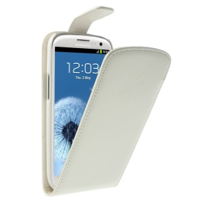 Magnetic Vertical Flip Leather Case for Samsung Galaxy S3 I9300 - White